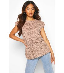 angel sleeve ruffle hem top in ditsy floral, mocha