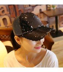 sombrero para mujer, gorro lentejuelas reflectantes-negro