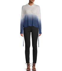 central park west women's ruched dip-dye knit hoodie - blue - size xs