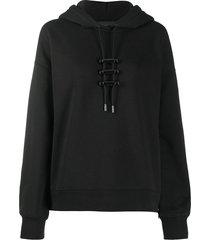 diesel black gold drawstring stopper hoodie