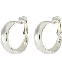 polished silver tapered hoop earrings