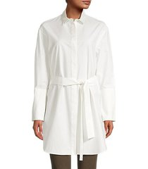 belted cotton & silk-blend poplin tunic shirt