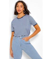gestreept t-shirt met gekleurde rand om de hals en mouwen, marineblauw