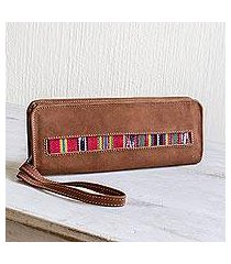 cotton-accented faux suede checkbook wallet, 'jocotenango stripe in red' (guatemala)