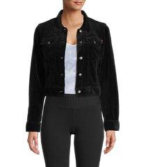 hard tail women's cropped denim jacket - black - size l