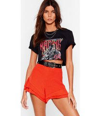 womens tier to stay high-waisted ruffle shorts - orange