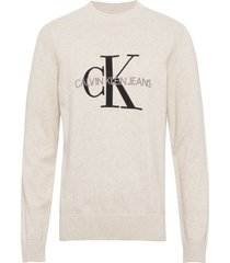 monogram sweater t-shirts long-sleeved crème calvin klein jeans