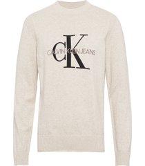 monogram sweater t-shirts long-sleeved crème calvin klein jeans