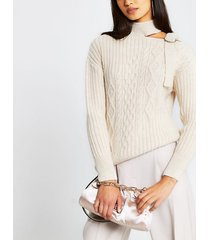 river island womens cream choker neck cable knitted jumper