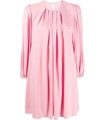alexander mcqueen pleated shift dress - pink