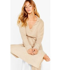 womens knit's your life sweater and wide-leg pants set - oatmeal