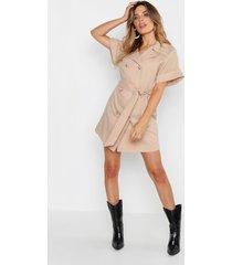 oversized blouse jurk met knopen, steenrood