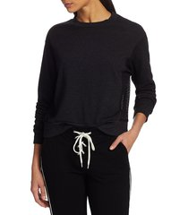 monrow women's mesh mix sweatshirt - black - size xs