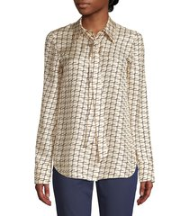 lafayette 148 new york women's diana tie-neck silk blouse - creme fraiche - size xl