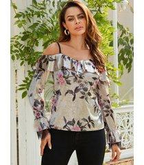 yoins blusa de terciopelo con inserción de encaje y estampado floral al azar en albaricoque