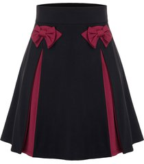 plus size bowknot two tone skirt