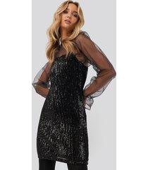 na-kd party spaghetti strap sequin dress - black