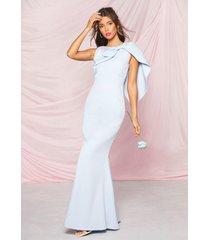 occasion bow cape detail maxi dress, pastel blue