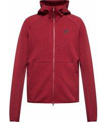 buzo con capucha de hombre m nsw tch flc hoodie fz nike rojo