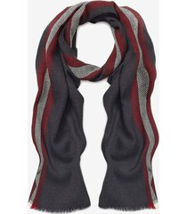 bally stripe wool scarf grey 1