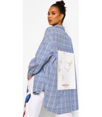 geruite oversized blouse met rugopdruk, blue