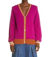women's wales bonner parish alpaca blend cricket cardigan, size small/medium - pink