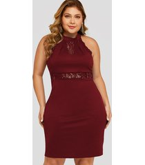 plus size burgundy lace insert halter sleeveless dress