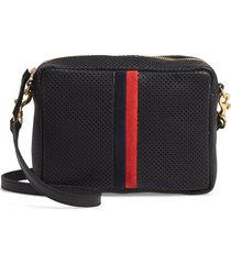clare v. midi sac perforated leather crossbody bag - black