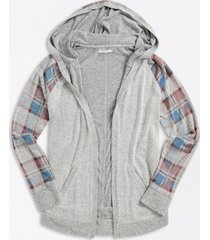 maurices womens plaid open front hooded cardigan gray