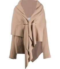fumito ganryu draped short coat - neutrals