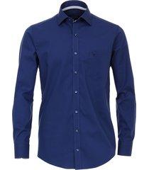 casamoda heren overhemd navy kent poplin modern fit blauw