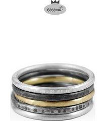 pierścionek texture - 5 obrączek srebro t9