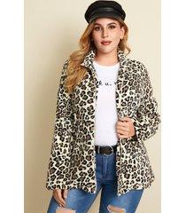 yoins plus talla cuello de solapa leopardo cremallera delantera manga larga abrigo