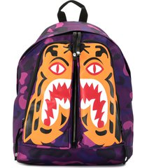 a bathing ape® camouflage tiger-print backpack - purple