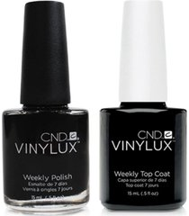creative nail design vinylux black pool nail polish & top coat (two items), 0.5-oz, from purebeauty salon & spa