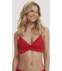 na-kd swimwear triangel-bikinitopp med volang - red