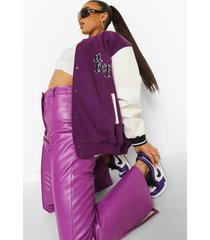ofcl varsity bomberjack, purple