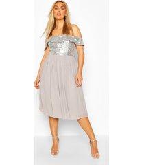 plus occasion sequin bardot midi dress, silver