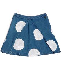 dżinsowa spódnica w groszki