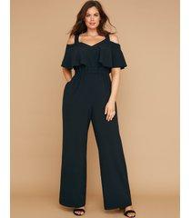 lane bryant women's lena off-the-shoulder jumpsuit 22/24p black