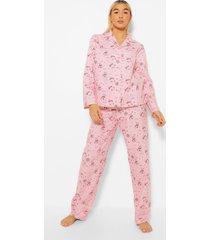 geborstelde katoenen polar bear pyjama set met broek, pink