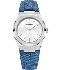 d1 milano denim strap watch - silver