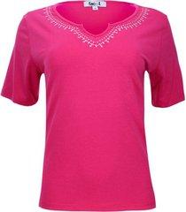 camiseta mujer manga corta bordado en escote color rosado, talla 10
