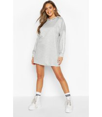 side stripe lounge hoodie dress, grey marl