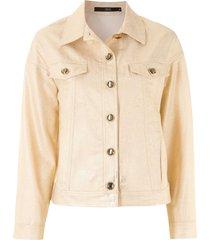 eva button-down denim jacket - gold