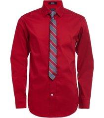 big boys poplin 2 piece shirt and tie set