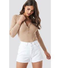 na-kd trend high waist denim shorts - white