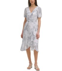 calvin klein botanical-print wrap-style dress