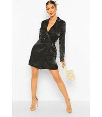 metallic satijnen blazer jurk met ceintuur, black