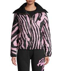 zebra-print puffer jacket